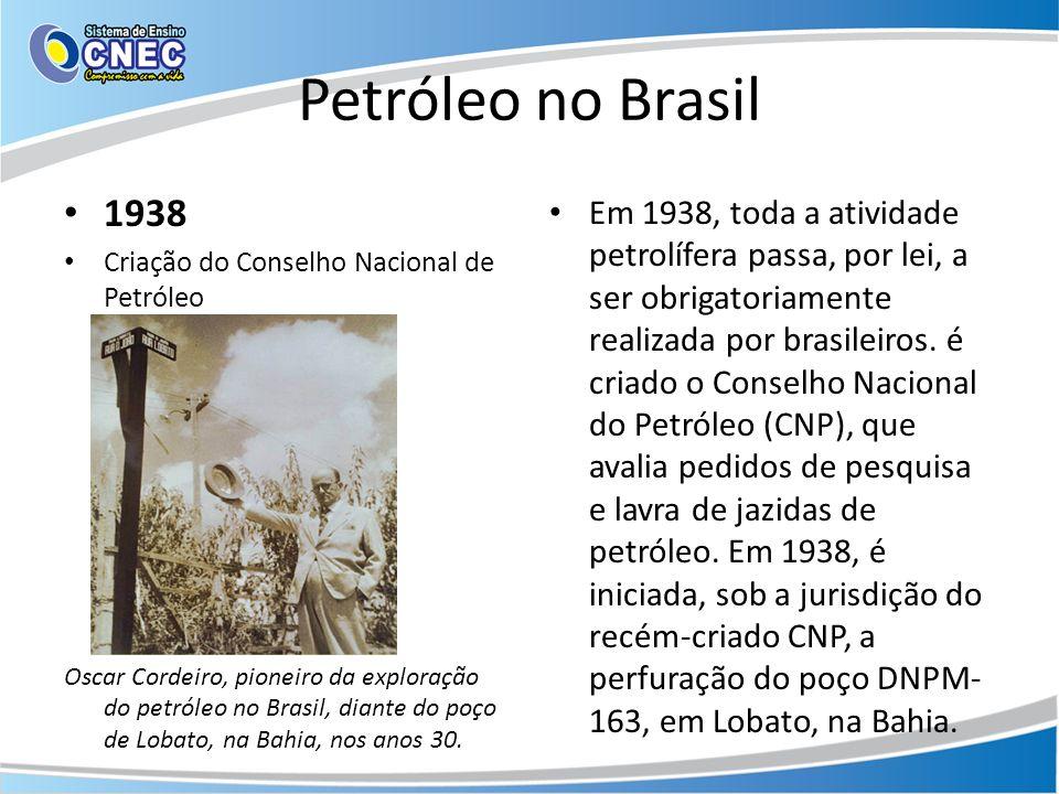 Petróleo no Brasil 1938 Criação do Conselho Nacional de Petróleo Oscar Cordeiro, pioneiro da exploração do petróleo no Brasil, diante do poço de Lobat
