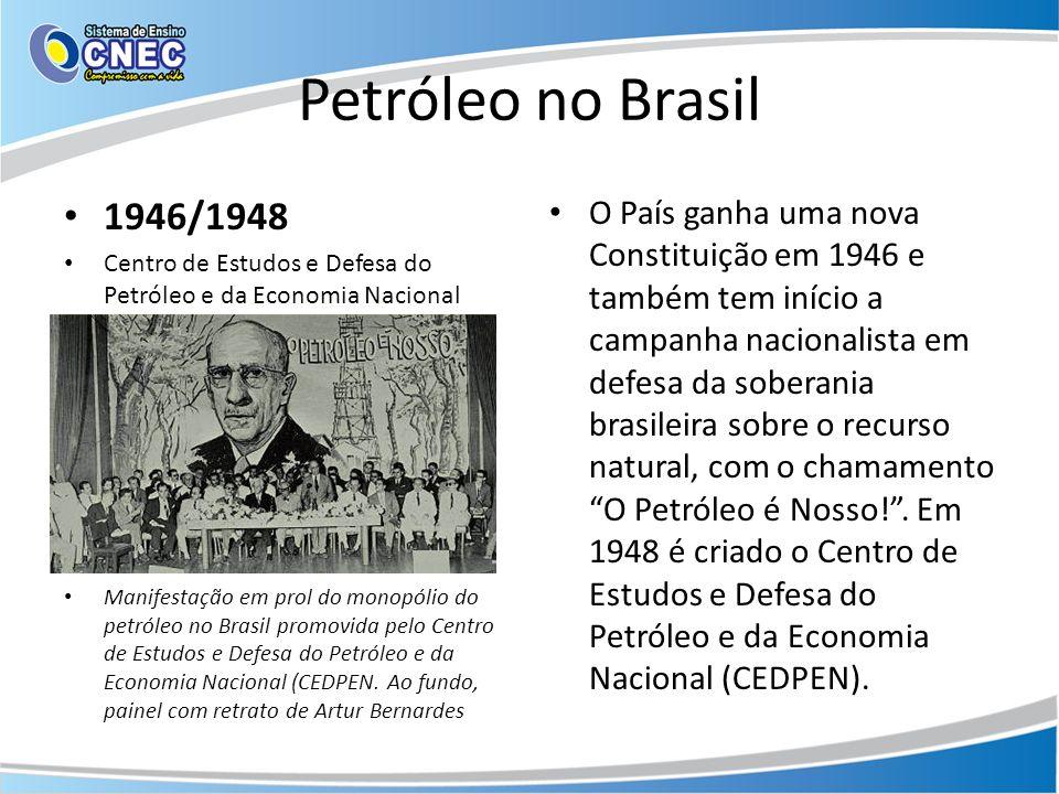 Petróleo no Brasil 1946/1948 Centro de Estudos e Defesa do Petróleo e da Economia Nacional Manifestação em prol do monopólio do petróleo no Brasil pro