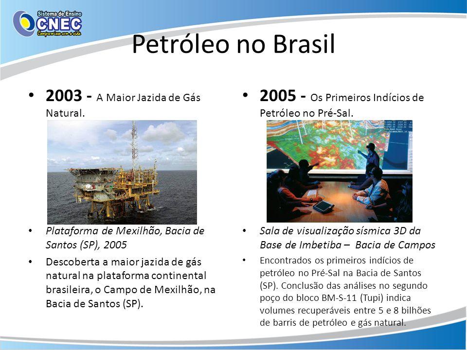 Petróleo no Brasil 2003 - A Maior Jazida de Gás Natural. Plataforma de Mexilhão, Bacia de Santos (SP), 2005 Descoberta a maior jazida de gás natural n