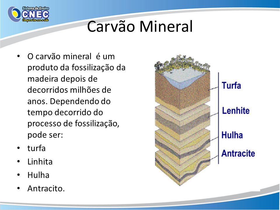 Carvão Mineral O carvão mineral é um produto da fossilização da madeira depois de decorridos milhões de anos. Dependendo do tempo decorrido do process