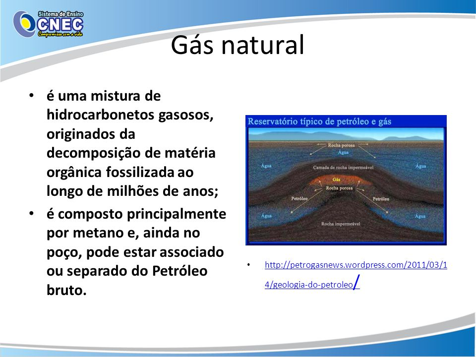 Reservas de gás natural Os principais produtores de gás natural são: Rússia – 589 bilh.de m³ EUA – 542 bilhões Canadá – 182 bilhões Reino Unido – 95 bilh.