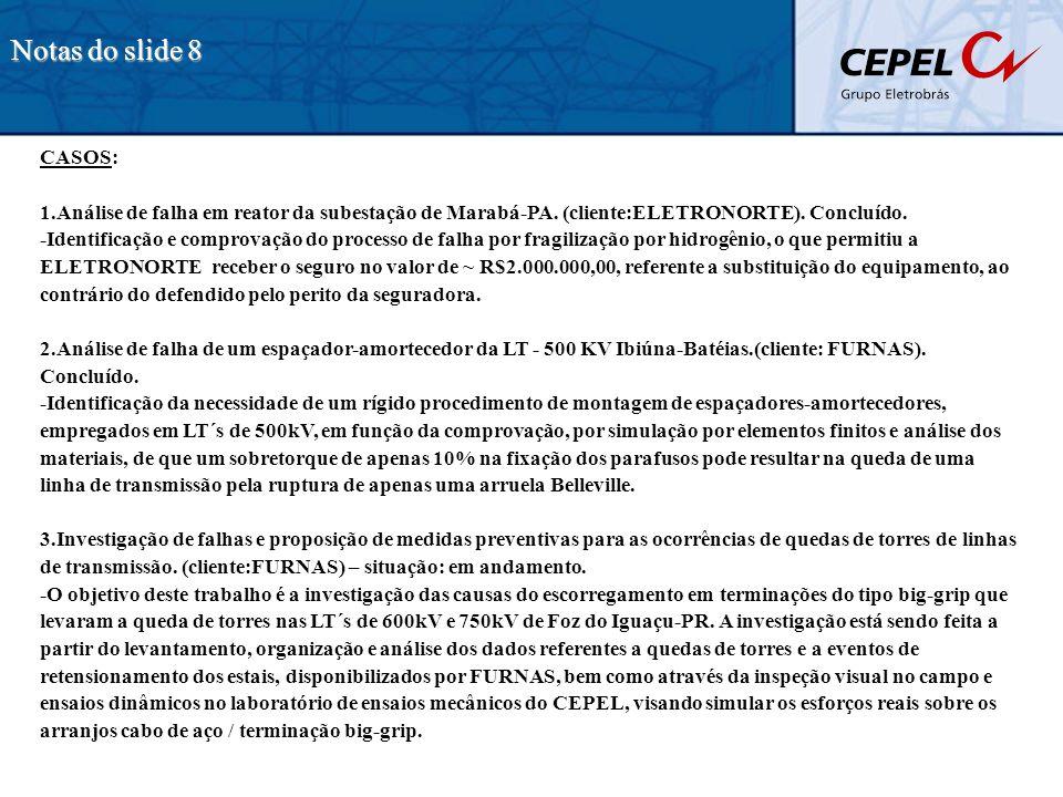 CASOS: 1.Análise de falha em reator da subestação de Marabá-PA. (cliente:ELETRONORTE). Concluído. -Identificação e comprovação do processo de falha po