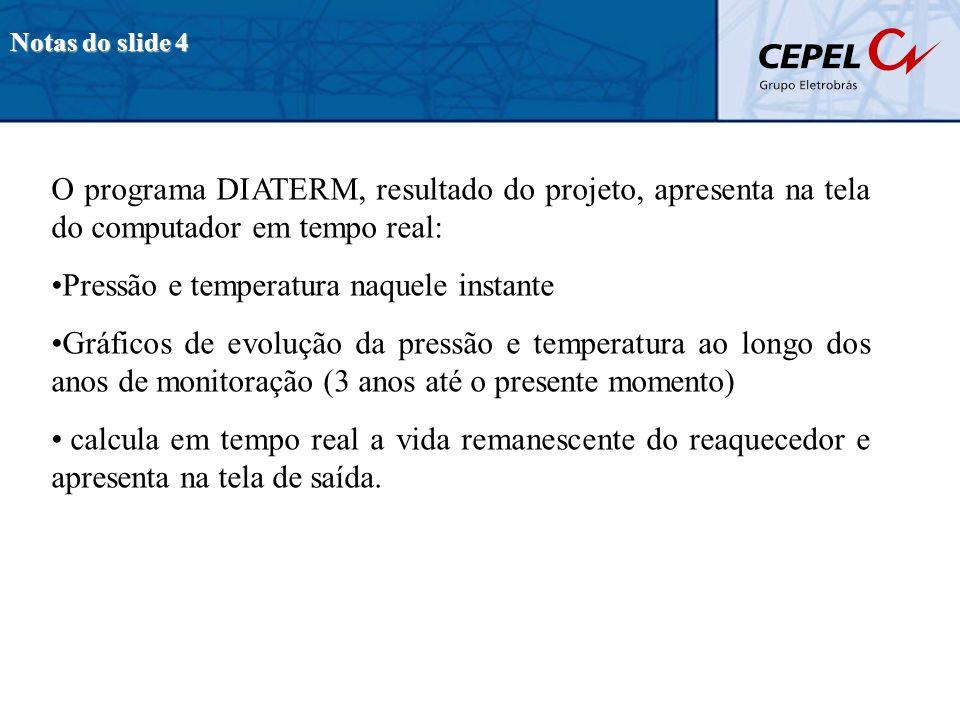 Notas do slide 4 O programa DIATERM, resultado do projeto, apresenta na tela do computador em tempo real: Pressão e temperatura naquele instante Gráfi