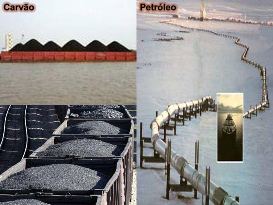 carvão Em 1880, cerca de 97% da energia consumida no mundo provinha do carvão. petróleo Desde então o petróleo veio pouco a pouco tomando o lugar de d