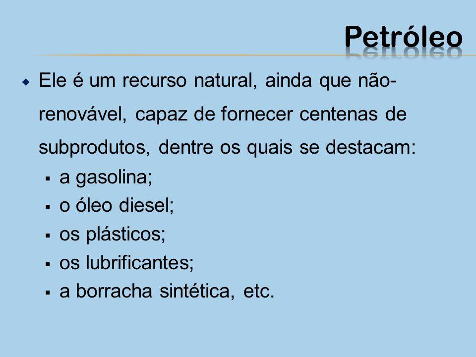 Ele é um recurso natural, ainda que não- renovável, capaz de fornecer centenas de subprodutos, dentre os quais se destacam: a gasolina; o óleo diesel; os plásticos; os lubrificantes; a borracha sintética, etc.