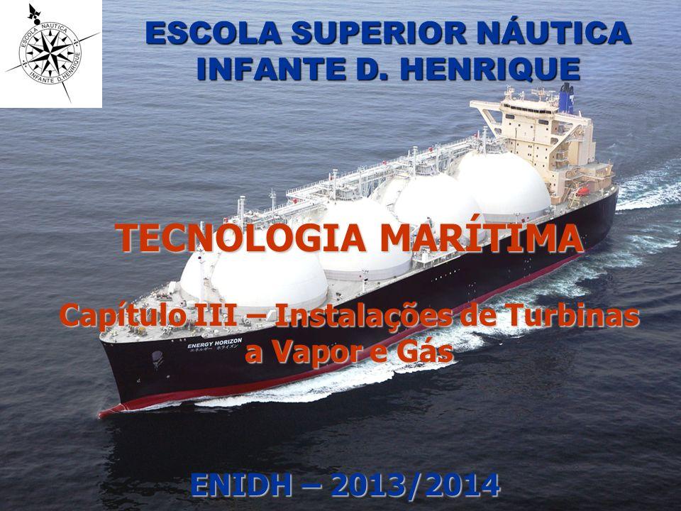 © Luis Filipe Baptista – ENIDH/DEM 22 Turbinas a vapor e gás Evolução da pressão e temperatura do ciclo a vapor nas instalações marítimas