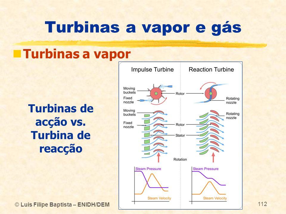 © Luis Filipe Baptista – ENIDH/DEM 112 Turbinas a vapor e gás Turbinas a vapor Turbinas de acção vs. Turbina de reacção
