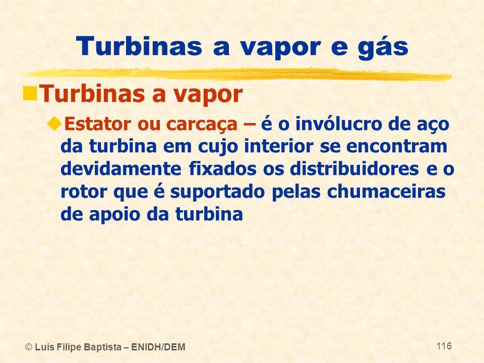 © Luis Filipe Baptista – ENIDH/DEM 116 Turbinas a vapor e gás Turbinas a vapor Estator ou carcaça – é o invólucro de aço da turbina em cujo interior s