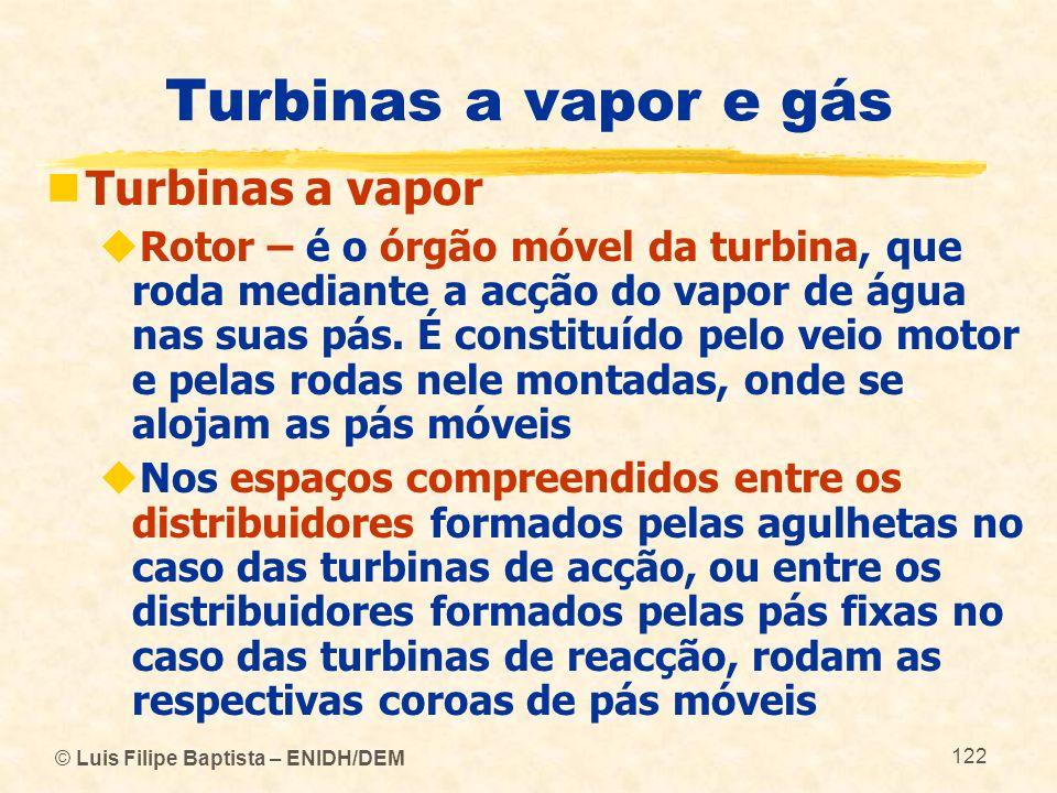 © Luis Filipe Baptista – ENIDH/DEM 122 Turbinas a vapor e gás Turbinas a vapor Rotor – é o órgão móvel da turbina, que roda mediante a acção do vapor