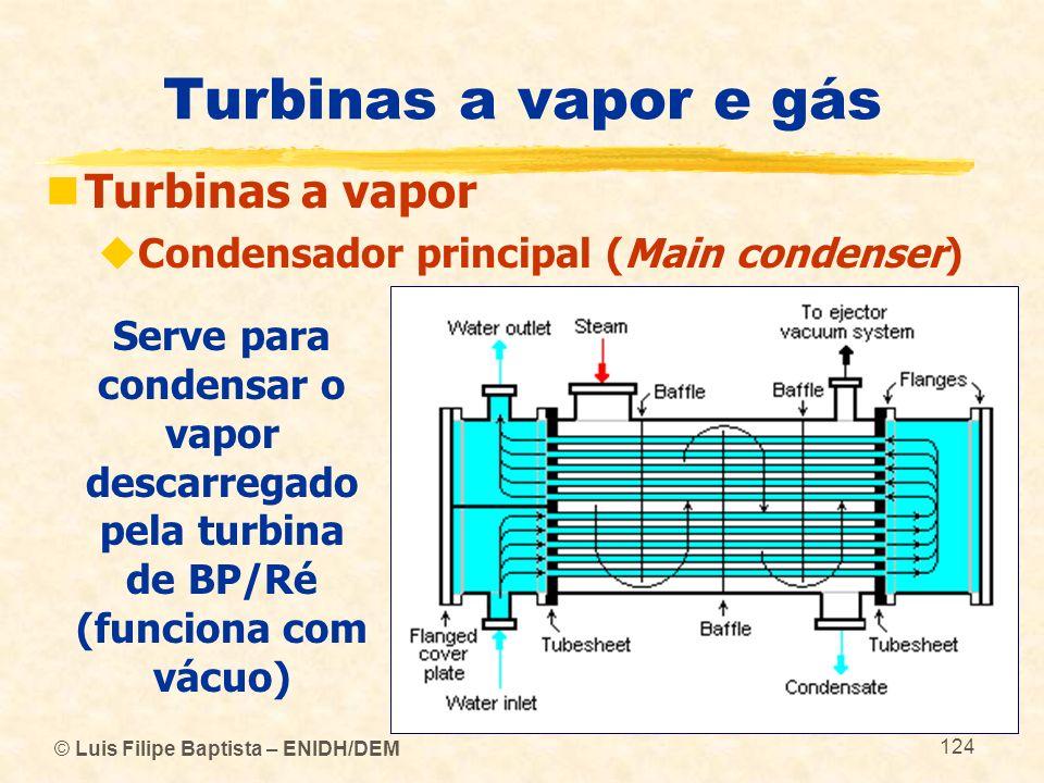 © Luis Filipe Baptista – ENIDH/DEM 124 Turbinas a vapor e gás Turbinas a vapor Condensador principal (Main condenser) Serve para condensar o vapor des