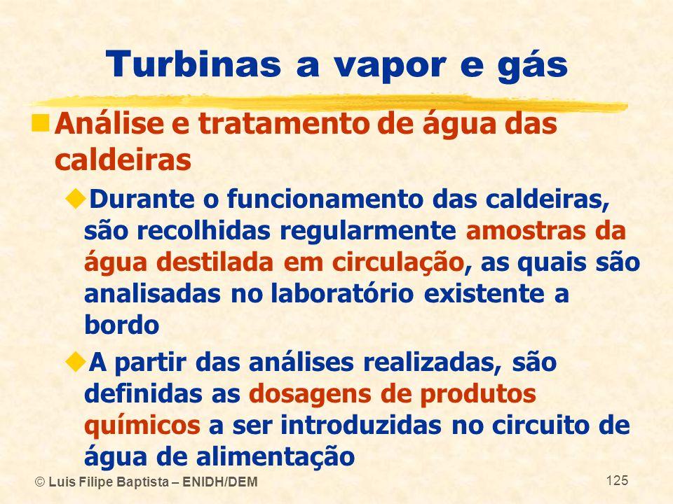 © Luis Filipe Baptista – ENIDH/DEM 125 Turbinas a vapor e gás Análise e tratamento de água das caldeiras Durante o funcionamento das caldeiras, são re