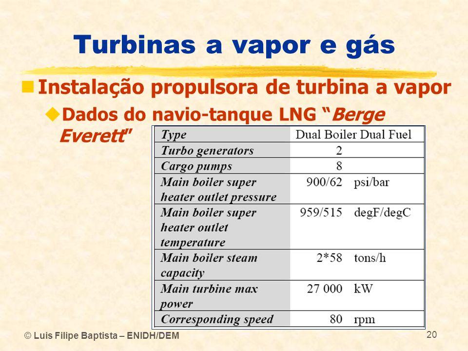 © Luis Filipe Baptista – ENIDH/DEM 20 Turbinas a vapor e gás Instalação propulsora de turbina a vapor Dados do navio-tanque LNG Berge Everett