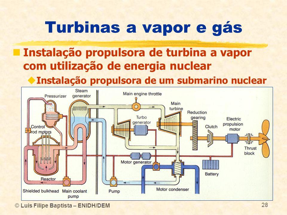 © Luis Filipe Baptista – ENIDH/DEM 28 Turbinas a vapor e gás Instalação propulsora de turbina a vapor com utilização de energia nuclear Instalação pro