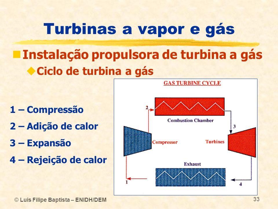 © Luis Filipe Baptista – ENIDH/DEM 33 Turbinas a vapor e gás Instalação propulsora de turbina a gás Ciclo de turbina a gás 1 – Compressão 2 – Adição d