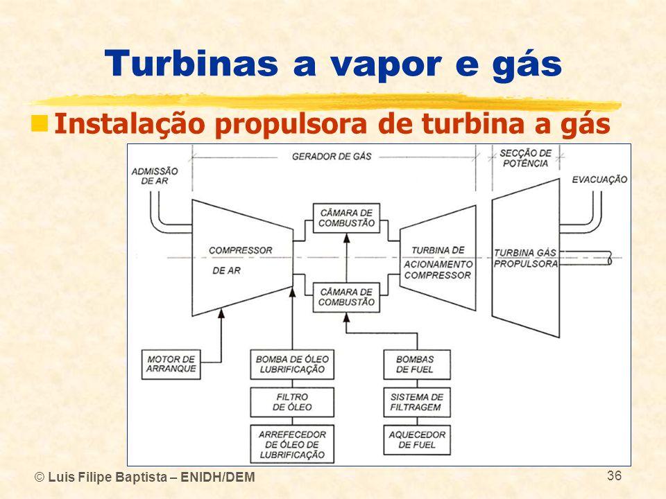 © Luis Filipe Baptista – ENIDH/DEM 36 Turbinas a vapor e gás Instalação propulsora de turbina a gás