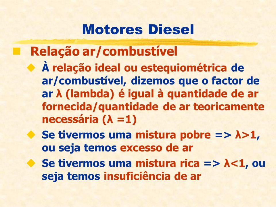 Motores Diesel Relação ar/combustível À relação ideal ou estequiométrica de ar/combustível, dizemos que o factor de ar λ (lambda) é igual à quantidade