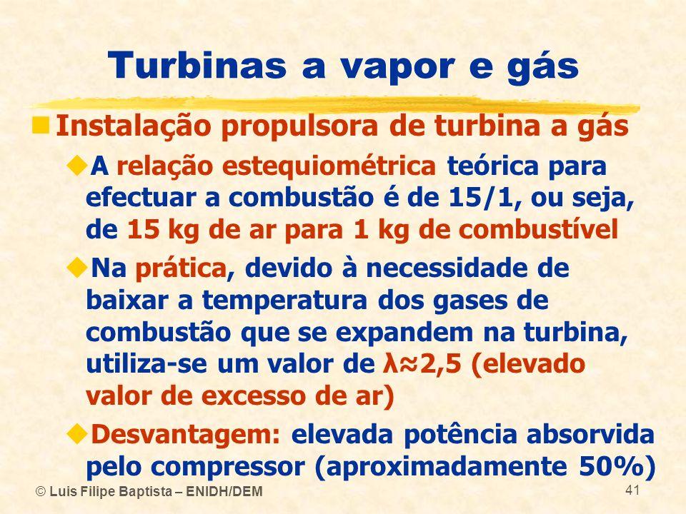 © Luis Filipe Baptista – ENIDH/DEM 41 Turbinas a vapor e gás Instalação propulsora de turbina a gás A relação estequiométrica teórica para efectuar a