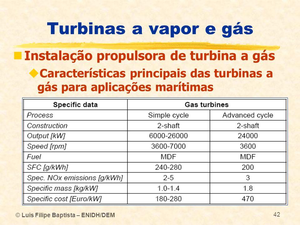 © Luis Filipe Baptista – ENIDH/DEM 42 Turbinas a vapor e gás Instalação propulsora de turbina a gás Características principais das turbinas a gás para