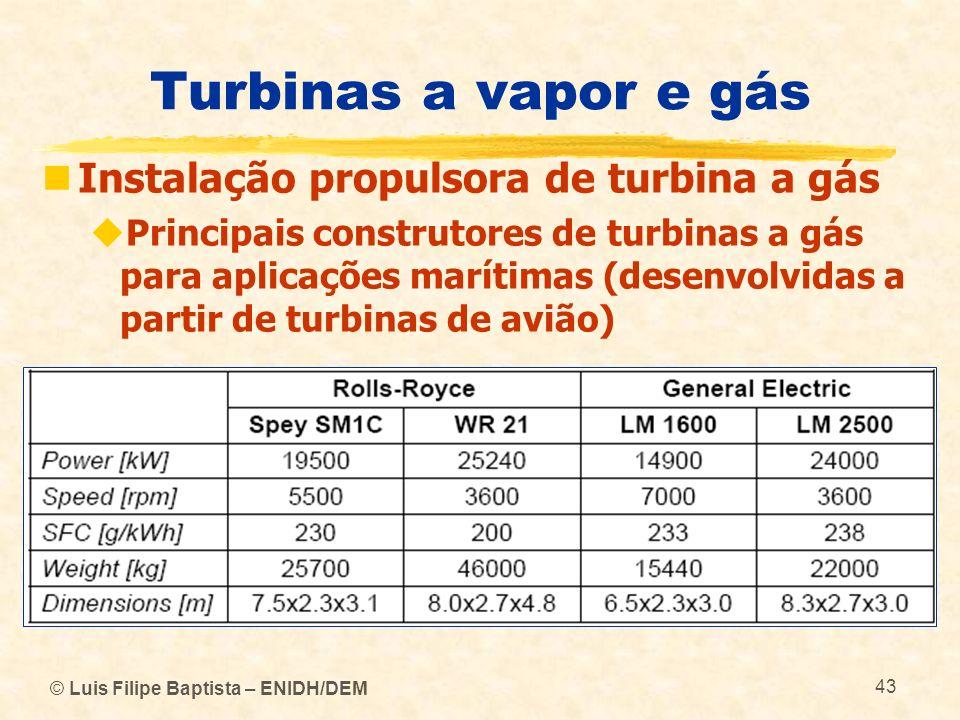 © Luis Filipe Baptista – ENIDH/DEM 43 Turbinas a vapor e gás Instalação propulsora de turbina a gás Principais construtores de turbinas a gás para apl