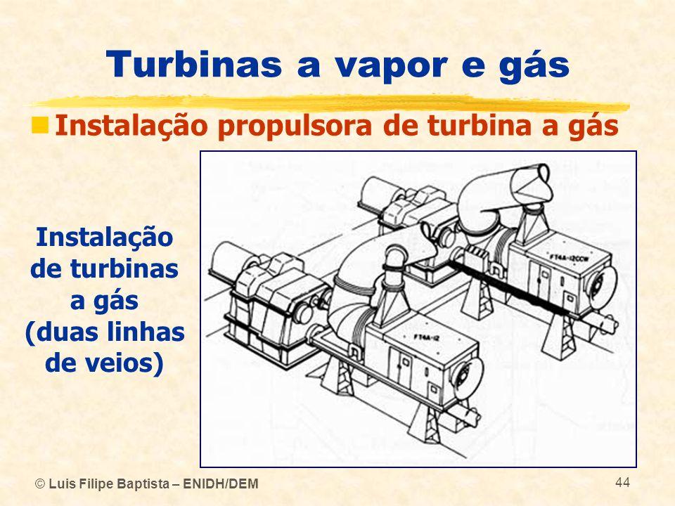 © Luis Filipe Baptista – ENIDH/DEM 44 Turbinas a vapor e gás Instalação propulsora de turbina a gás Instalação de turbinas a gás (duas linhas de veios