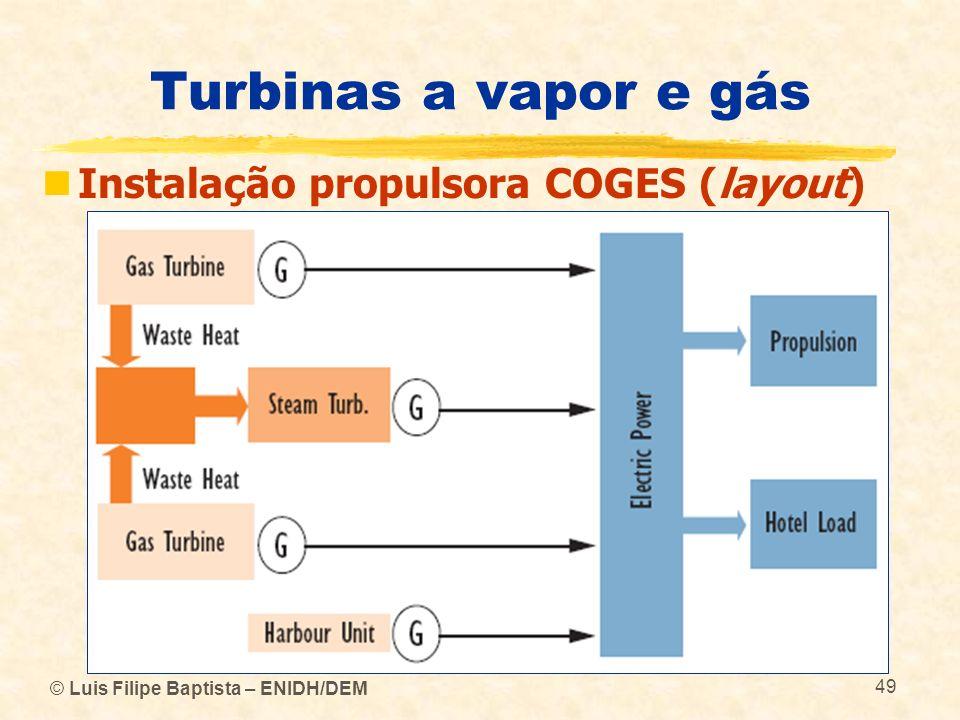 © Luis Filipe Baptista – ENIDH/DEM 49 Turbinas a vapor e gás Instalação propulsora COGES (layout)
