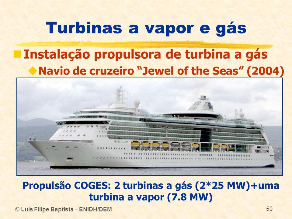 © Luis Filipe Baptista – ENIDH/DEM 50 Turbinas a vapor e gás Instalação propulsora de turbina a gás Navio de cruzeiro Jewel of the Seas (2004) Propuls