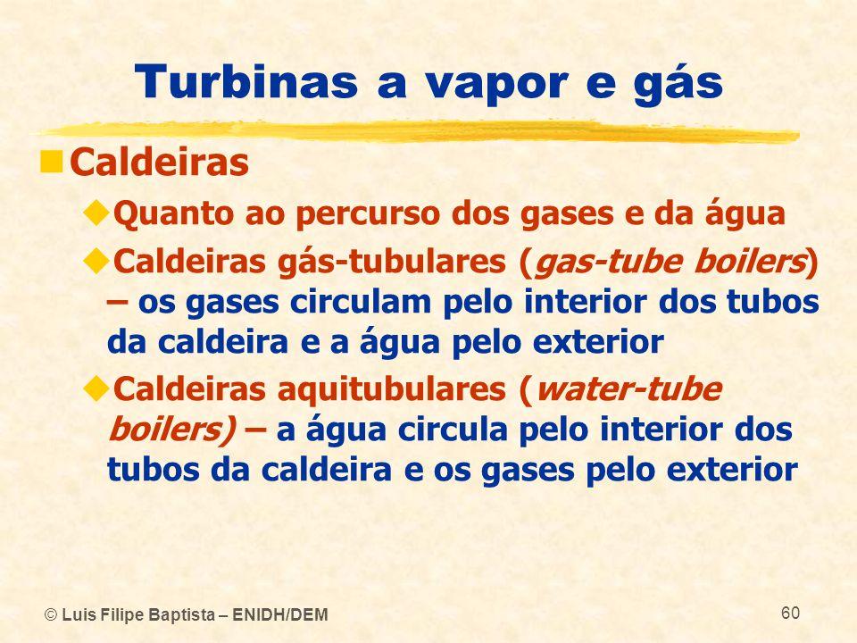 © Luis Filipe Baptista – ENIDH/DEM 60 Turbinas a vapor e gás Caldeiras Quanto ao percurso dos gases e da água Caldeiras gás-tubulares (gas-tube boiler