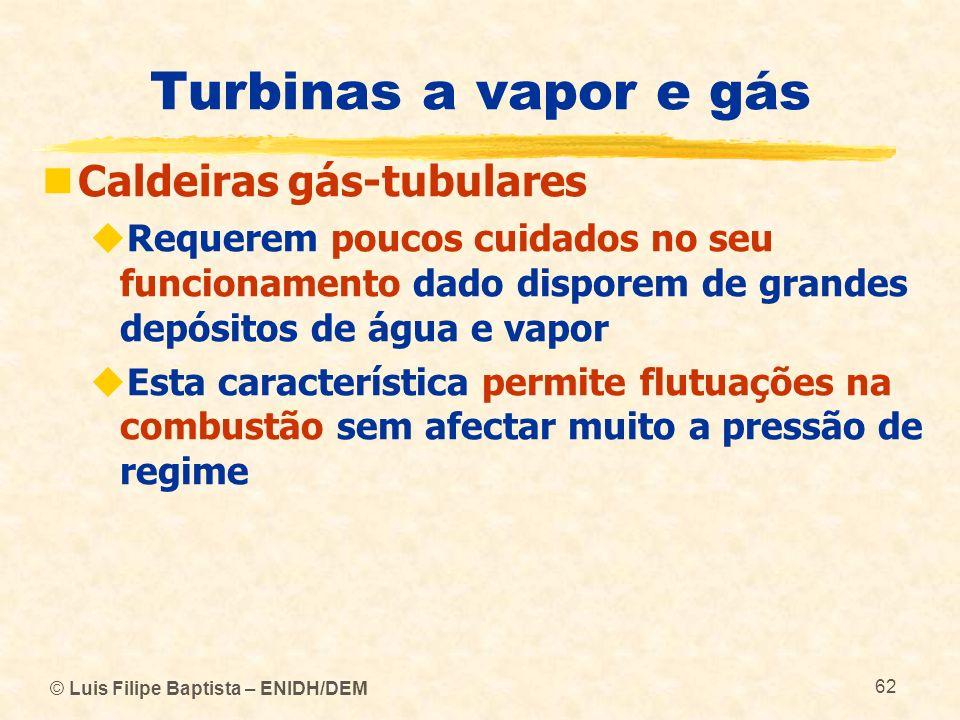© Luis Filipe Baptista – ENIDH/DEM 62 Turbinas a vapor e gás Caldeiras gás-tubulares Requerem poucos cuidados no seu funcionamento dado disporem de gr
