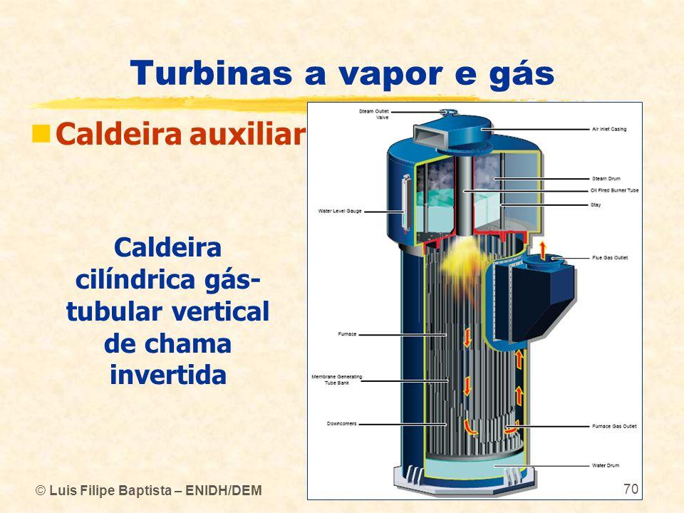 Turbinas a vapor e gás Caldeira auxiliar © Luis Filipe Baptista – ENIDH/DEM Caldeira cilíndrica gás- tubular vertical de chama invertida 70
