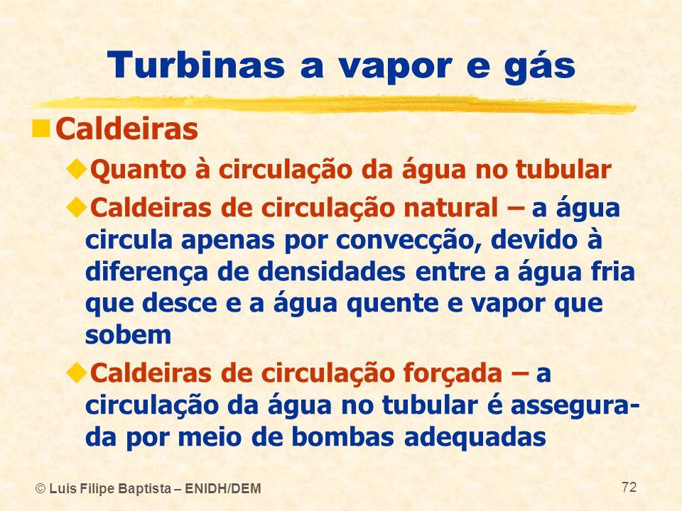 © Luis Filipe Baptista – ENIDH/DEM 72 Turbinas a vapor e gás Caldeiras Quanto à circulação da água no tubular Caldeiras de circulação natural – a água