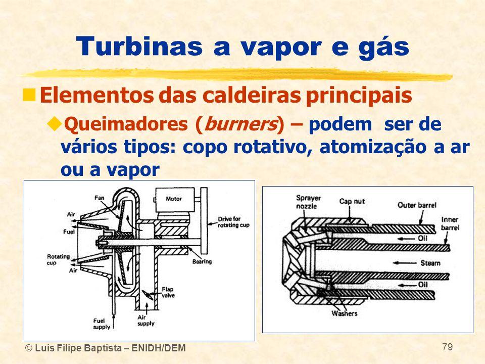 © Luis Filipe Baptista – ENIDH/DEM 79 Turbinas a vapor e gás Elementos das caldeiras principais Queimadores (burners) – podem ser de vários tipos: cop