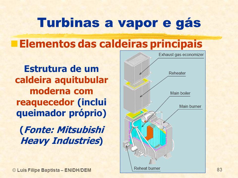 © Luis Filipe Baptista – ENIDH/DEM 83 Turbinas a vapor e gás Elementos das caldeiras principais Estrutura de um caldeira aquitubular moderna com reaqu