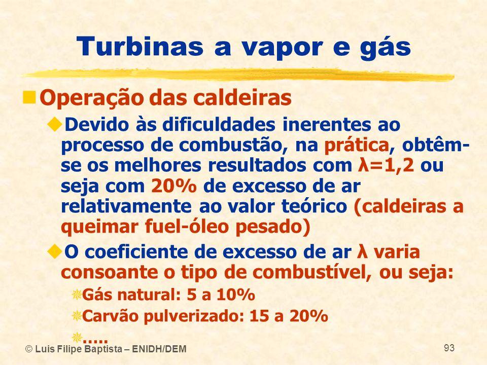 © Luis Filipe Baptista – ENIDH/DEM 93 Turbinas a vapor e gás Operação das caldeiras Devido às dificuldades inerentes ao processo de combustão, na prát