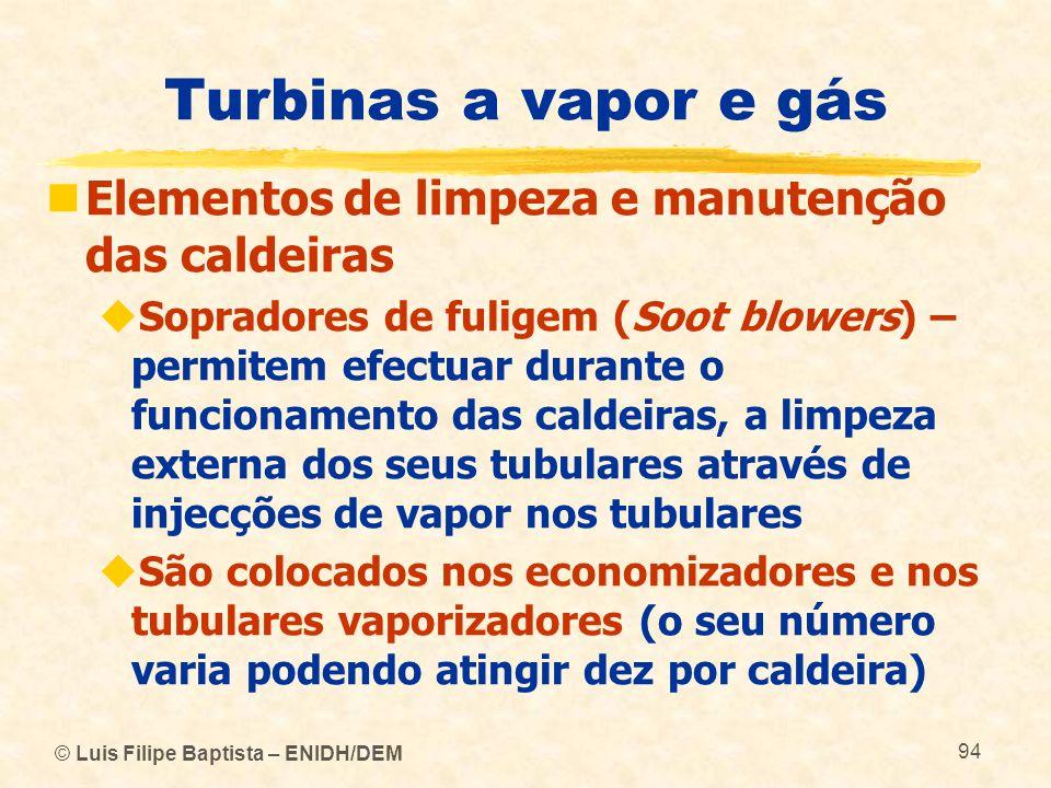© Luis Filipe Baptista – ENIDH/DEM 94 Turbinas a vapor e gás Elementos de limpeza e manutenção das caldeiras Sopradores de fuligem (Soot blowers) – pe