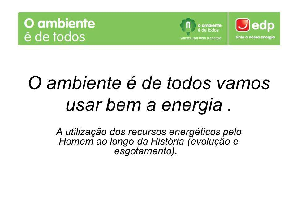 O ambiente é de todos vamos usar bem a energia. A utilização dos recursos energéticos pelo Homem ao longo da História (evolução e esgotamento).