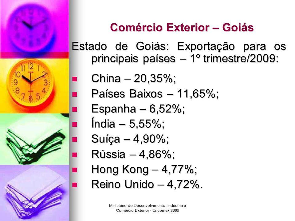 Ministério do Desenvolvimento, Indústria e Comércio Exterior - Encomex 2009 Comércio Exterior – Goiás Estado de Goiás: Exportação para os principais p