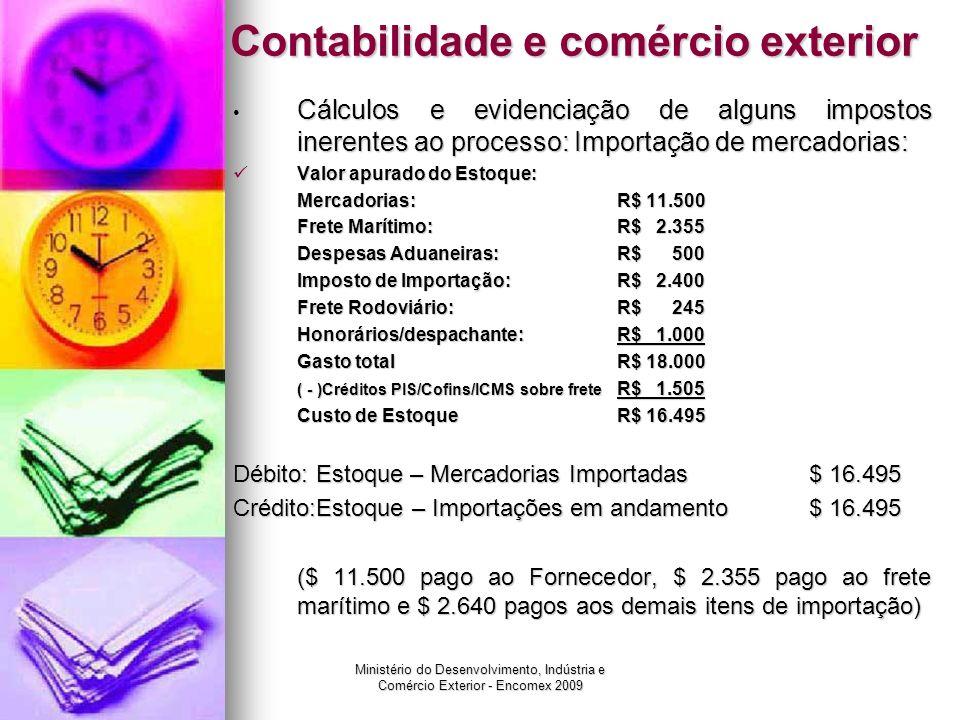 Ministério do Desenvolvimento, Indústria e Comércio Exterior - Encomex 2009 Contabilidade e comércio exterior Cálculos e evidenciação de alguns impost