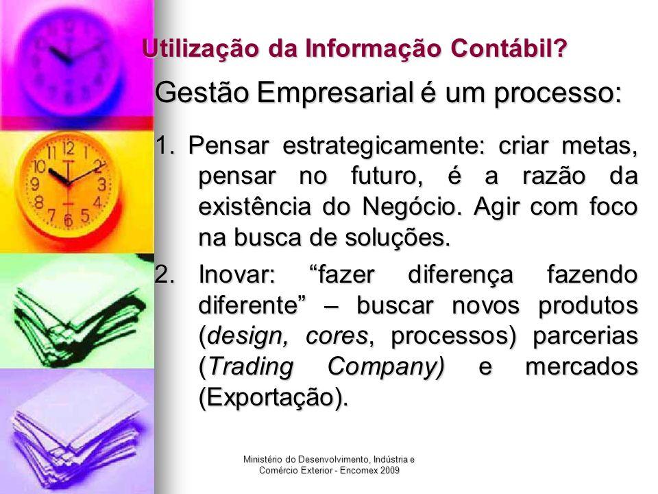 Ministério do Desenvolvimento, Indústria e Comércio Exterior - Encomex 2009 Utilização da Informação Contábil? Gestão Empresarial é um processo: 1. Pe