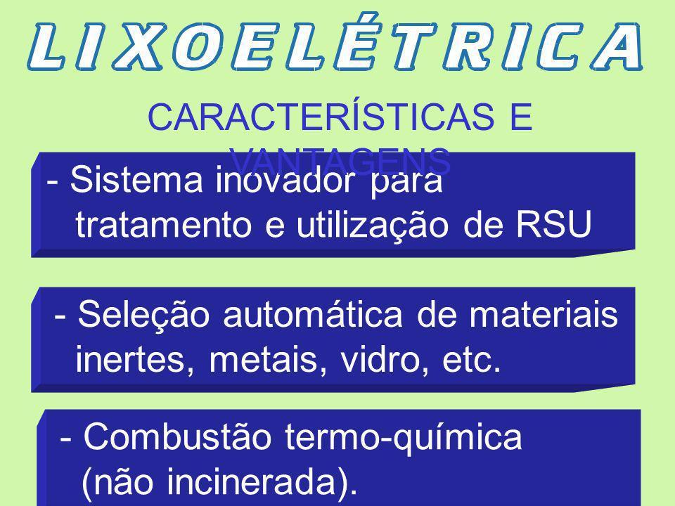 INSTALAÇÃO COMPLETA PARA TRATAMENTO E GASEIFICAÇÃO DE RESÍDUOS SÓLIDOS URBANOS NÃO SELECIONADOS PARA GERAÇÃO DE ENERGIA ELÉTRICA. Capacidade Instalada