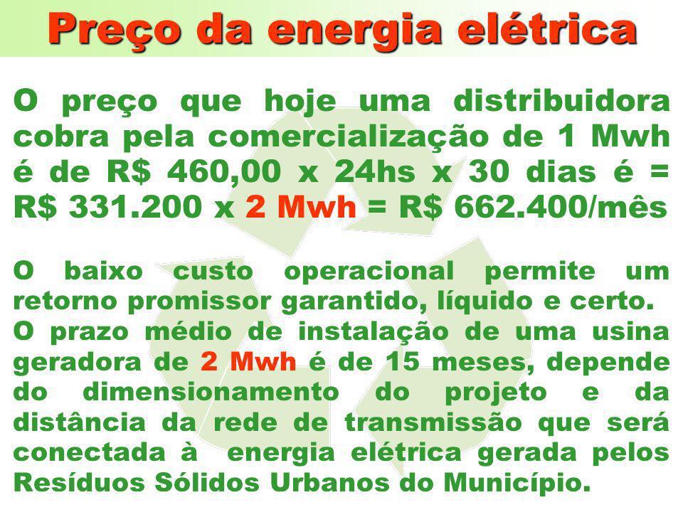 Preço da energia elétrica O preço que hoje um município paga à uma concessionária de energia elétrica é de aproximadamente R$ 170,00 MW/HORA e o preço