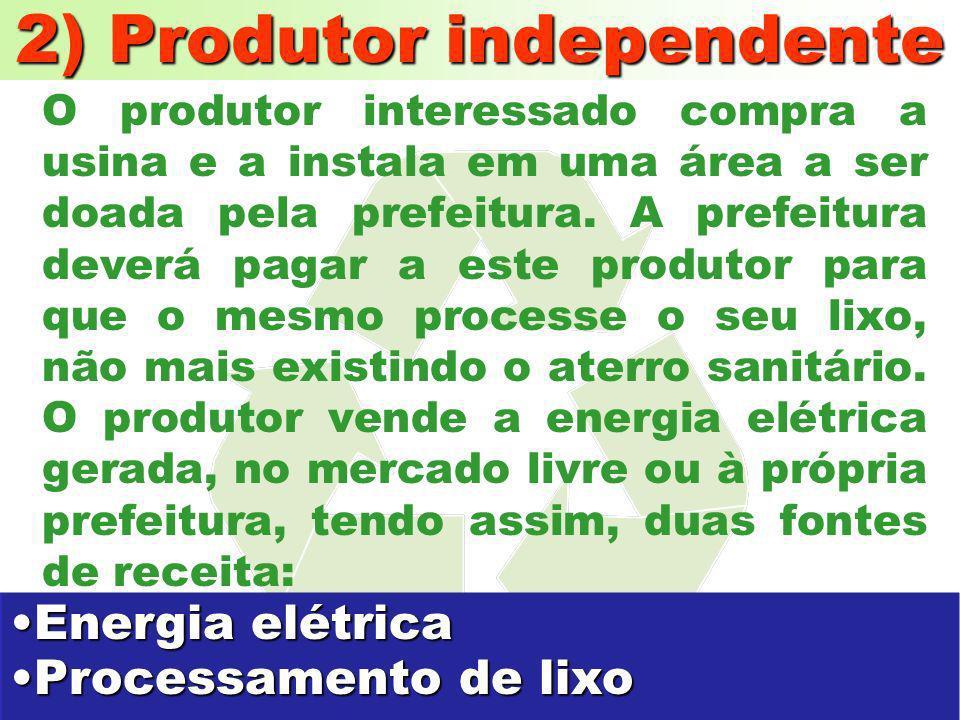 1) Município Produtor O município interessado compra a usina e com o lixo passa a gerar energia elétrica que será consumida pelo próprio município. Qu