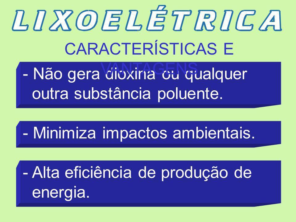 - Sistema inovador para tratamento e utilização de RSU - Seleção automática de materiais inertes, metais, vidro, etc. - Combustão termo-química (não i