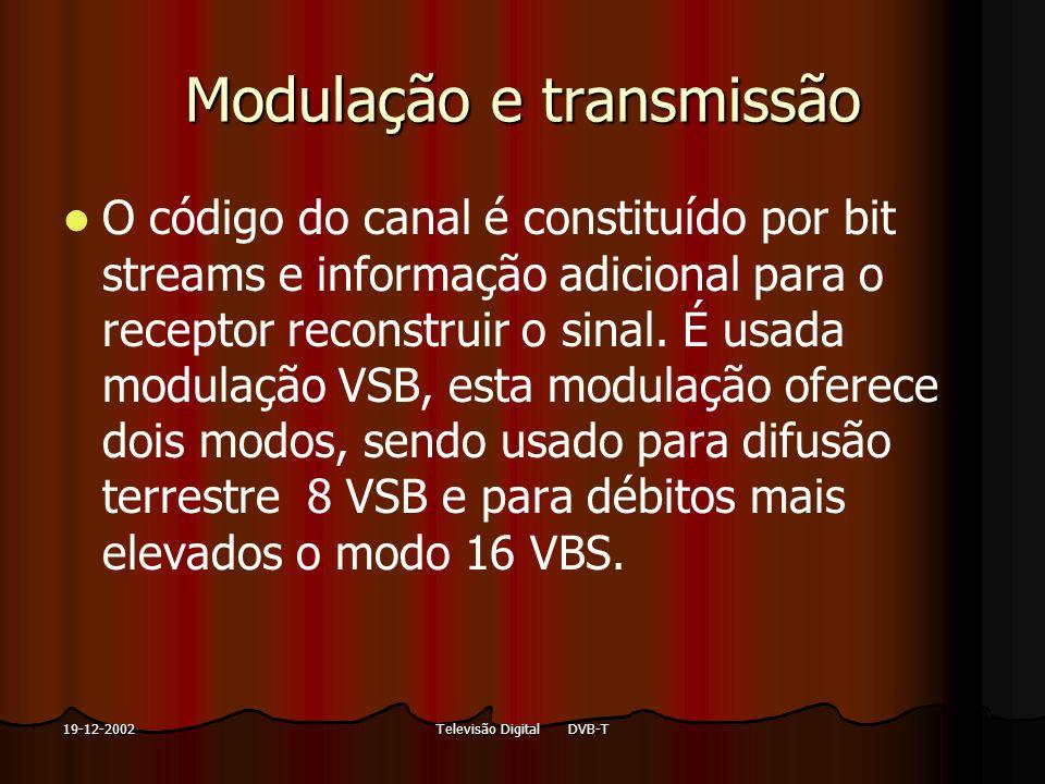 Televisão Digital DVB-T19-12-2002 Modulação e transmissão O código do canal é constituído por bit streams e informação adicional para o receptor recon