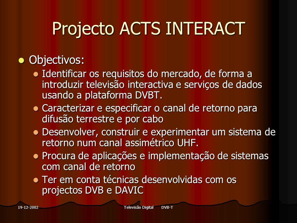 Televisão Digital DVB-T19-12-2002 Projecto ACTS INTERACT Objectivos: Objectivos: Identificar os requisitos do mercado, de forma a introduzir televisão