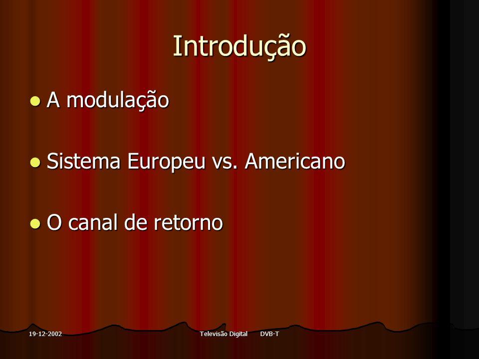 Televisão Digital DVB-T19-12-2002 Introdução A modulação A modulação Sistema Europeu vs. Americano Sistema Europeu vs. Americano O canal de retorno O