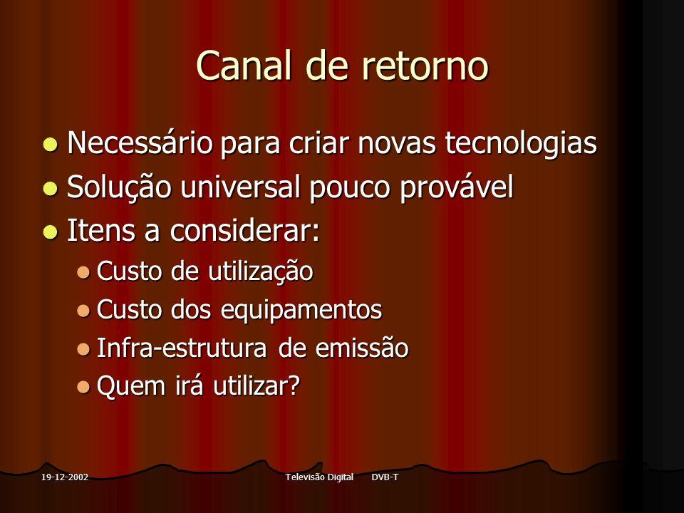 Televisão Digital DVB-T19-12-2002 Canal de retorno Necessário para criar novas tecnologias Necessário para criar novas tecnologias Solução universal p