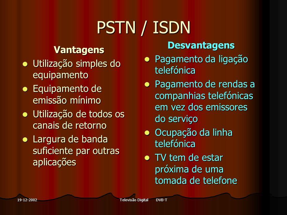 Televisão Digital DVB-T19-12-2002 PSTN / ISDN Vantagens Utilização simples do equipamento Utilização simples do equipamento Equipamento de emissão mín