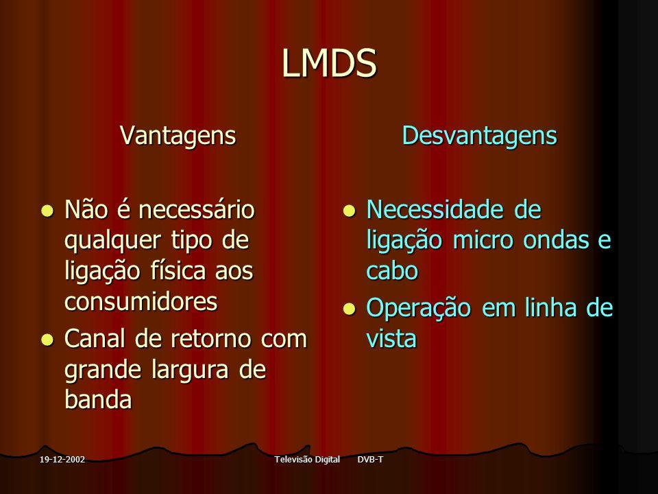 Televisão Digital DVB-T19-12-2002 LMDS Vantagens Não é necessário qualquer tipo de ligação física aos consumidores Não é necessário qualquer tipo de l