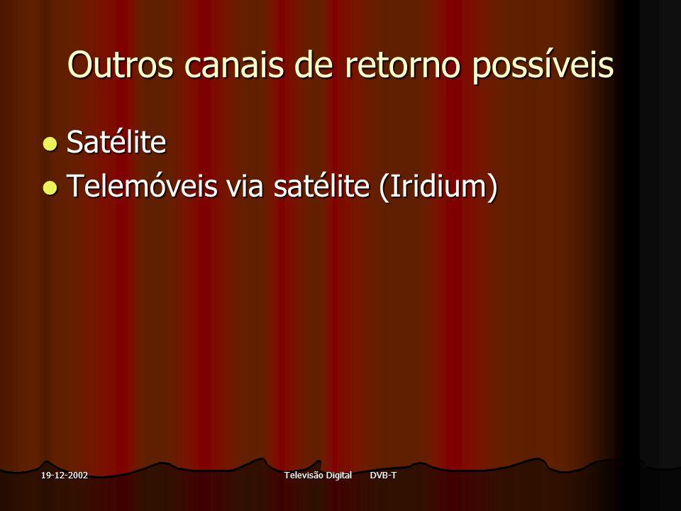 Televisão Digital DVB-T19-12-2002 Outros canais de retorno possíveis Satélite Satélite Telemóveis via satélite (Iridium) Telemóveis via satélite (Irid