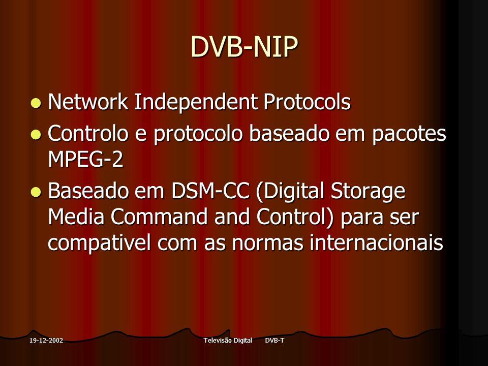 Televisão Digital DVB-T19-12-2002 DVB-NIP Network Independent Protocols Network Independent Protocols Controlo e protocolo baseado em pacotes MPEG-2 C